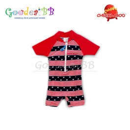 Cheekaaboo - Red Strip Star Baby Boy One Suit