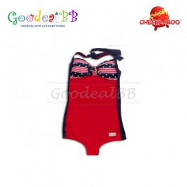 Cheekaaboo - Red Strip Star Mummy One Piece
