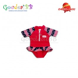 Cheekaaboo - Red Strip Star Baby Girl One Suit