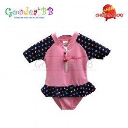 Cheekaaboo - Multi Star + Pink Baby Girl One Suit
