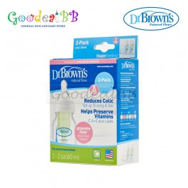 Dr. Brown's 2oz/60ml PP Narrow-Neck Baby Bottle (2 Pack with Preemie)
