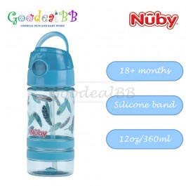 Nuby Flip-It ACTIVE (Tritan) Thin Straw Sports Bottle 12oz/360ml