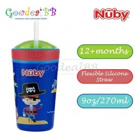 Nuby Snack N Sip 1pk 270ml Printed Cup with Thin Straw and Snack Cup