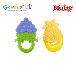 Nuby Teether Set(2pcs) - Fruity Chews Teether & Fruit Teether with Sleeve