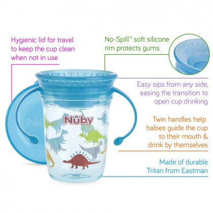 Nuby 360 Wonder Cup With Handle And Tritan Plasctic 240ml/ 8oz