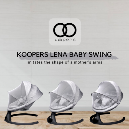 Koopers Lena Baby Swing For Infant (Up to 9 kg), Grey, Electronic Swing | LED Touch Screen Technology