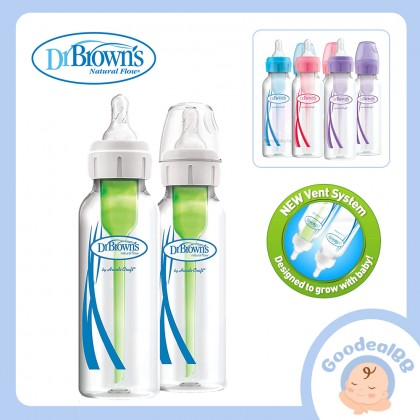 Dr. Brown's Options Plus Narrow/ Standard Neck Anti-Colic Baby Bottle Twin Pack (8oz/250ml)(Level 1 Nipple)