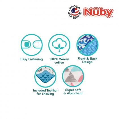 Nuby Reversible 100% Cotton Muslin Bandana Baby Bib With Teether 3m+ - 2 Pieces